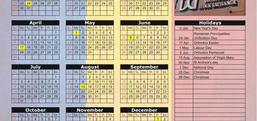 Bucharest Stock Exchange (BVB) 2017 Holiday Calendar