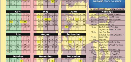 Colombo Stock Exchange (CSE) 2017 Holiday Calendar