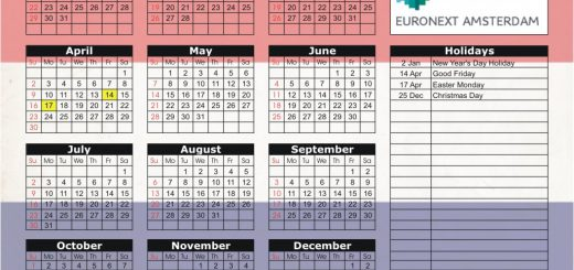Euronext Amsterdam Stock Exchange (Euronext) 2017 Holiday Calendar