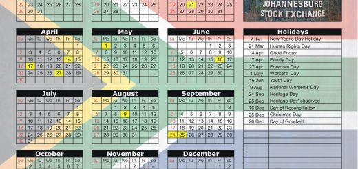Johannesburg Stock Exchange (JSE) 2017 Holiday Calendar