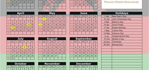 Malawi Stock Exchange (MSE) 2017 Holiday Calendar
