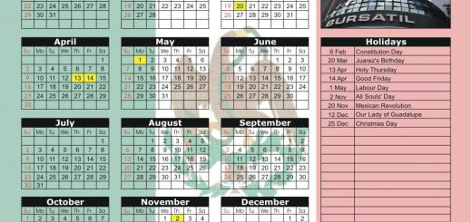 Mexican Stock Exchange (BMV) 2017 Holiday Calendar