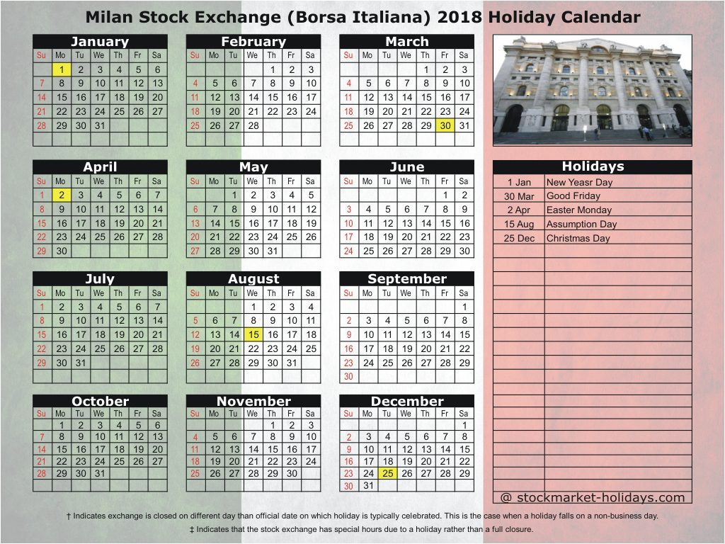 Milan Stock Exchange (Borsa Italiana) 2018 Holiday Calendar