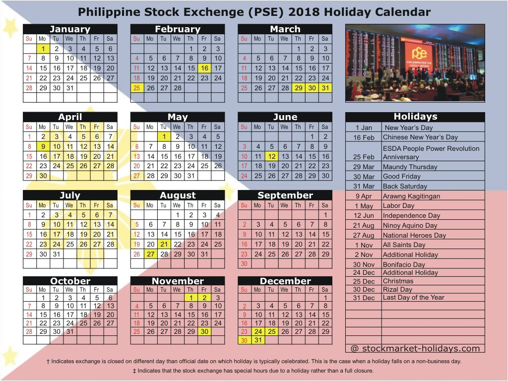 Philippine Stock Exchenge (PSE) 2018 Holiday Calendar