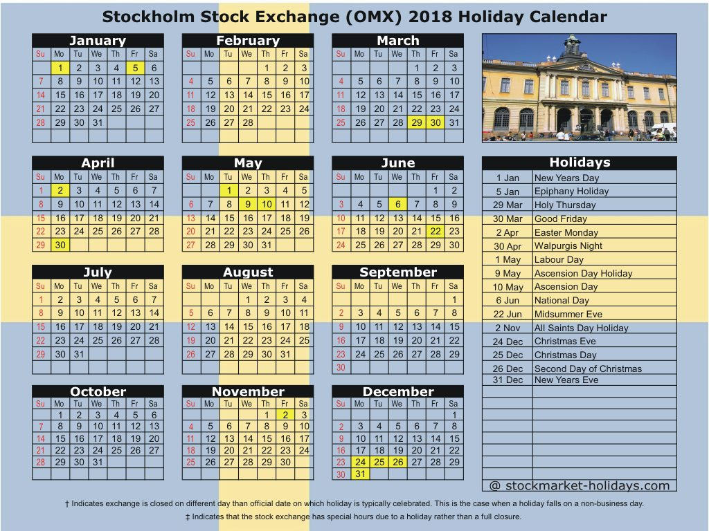 Stockholm Stock Exchange (OMX) 2018 Holiday Calendar