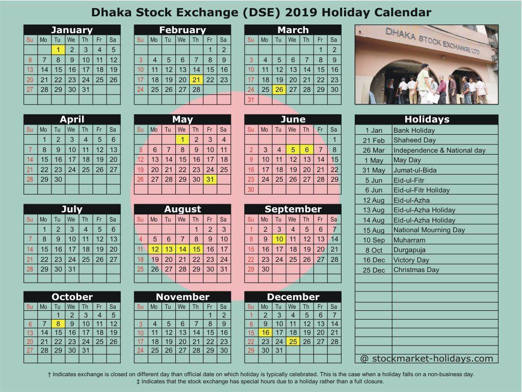 Trading Calendar 2020 Dhaka Stock Exchange 2019 / 2020 Holidays : DSE Holidays 2019 / 2020