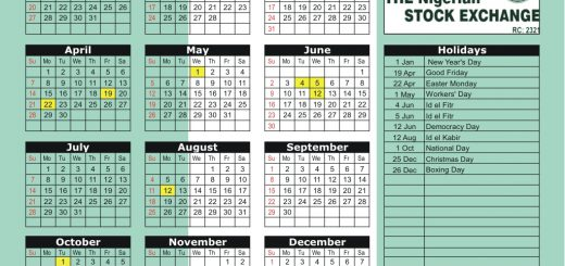 Nigerian Stock Exchange (NSE) 2019 Holiday Calendar