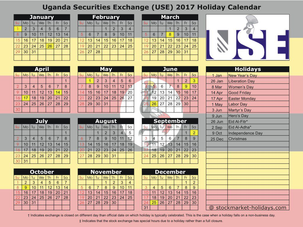 Uganda Securities Exchange (USE) 2017 Holiday Calendar