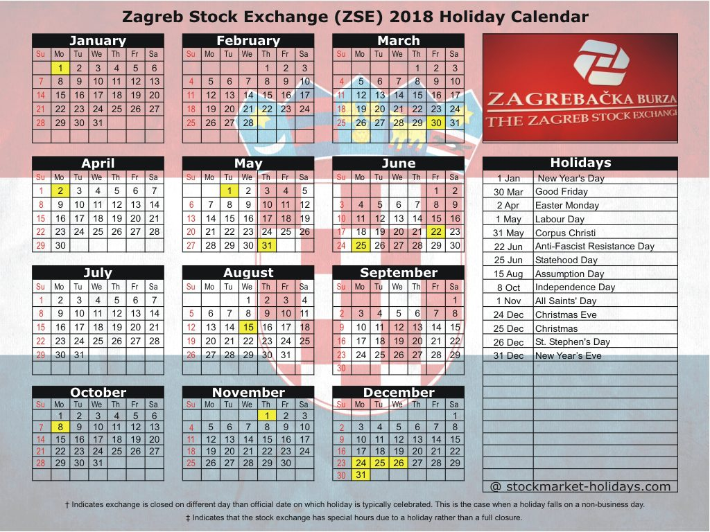 Zagreb Stock Exchange (ZSE) 2018 Holiday Calendar