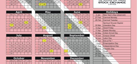 Trinidad and Tobago Stock Exchange (TTSE) 2017 Holiday Calendar