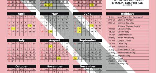 Trinidad and Tobago Stock Exchange (TTSE) 2017 Holiday Calendar