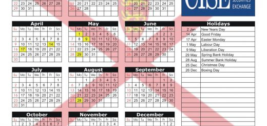 Channel Islands Securities Exchange (CISE) 2017 Holiday Calendar