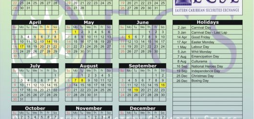 Eastern Caribbean Securities Exchange (ECSE) 2017 Holiday Calendar