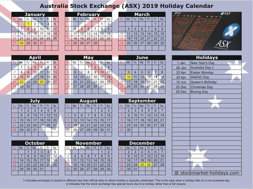 Australian Stock Exchange (ASX) 2019 Holiday Calendar