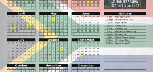 Johannesburg Stock Exchange (JSE) 2019 Holiday Calendar