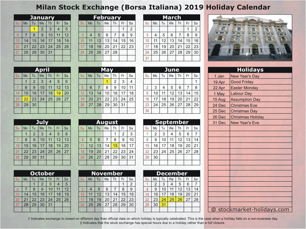 Milan Stock Exchange (Borsa Italiana) 2019 Holiday Calendar
